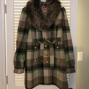 Juicy Couture plaid wool coat