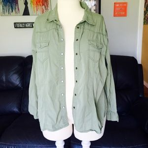 Dots Tops - Army Green Button Down