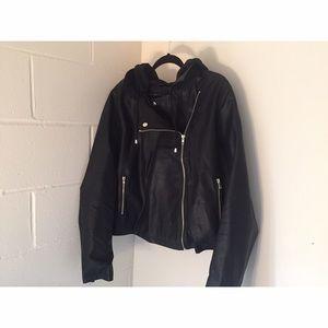 Plus Size Hooded Moto Jacket