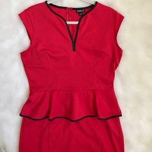 ABS Allen Schwartz Dresses & Skirts - Red Midi Dress with Black Details