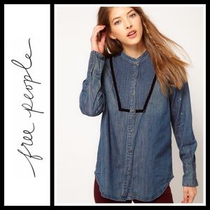 Free People Tops - Free People chambray pintuck bib shirt