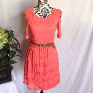 By & By Dresses & Skirts - By & By Coral Lace Belted Dress