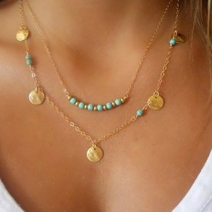 Layered Turquoise Beaded Necklace Gold or Silver