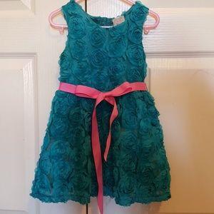 Sara Sara Other - Teal 3T rosette dress.