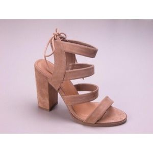 Suede Strappy Heels - Beige *CLEARANCE*