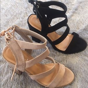 LF Shoes - Suede Strappy Heels - Beige