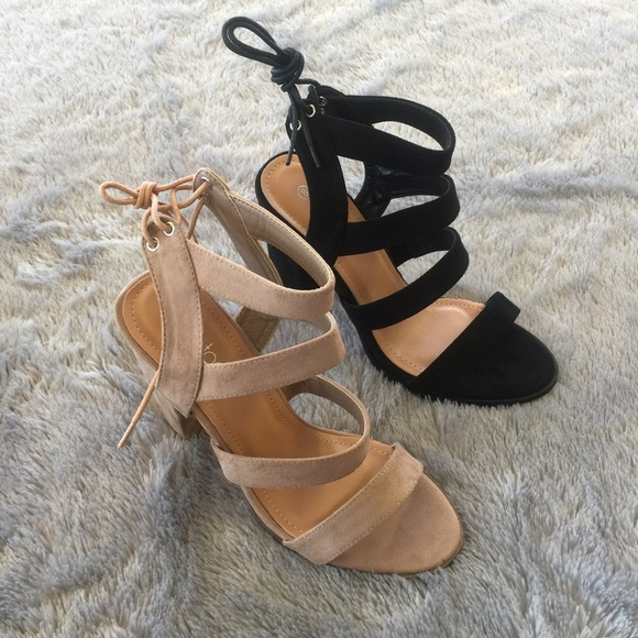 LF Shoes - Suede Strappy Heels - Black