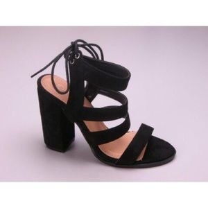 Suede Strappy Heels - Black
