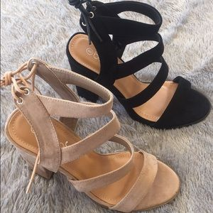 Shoes - Suede Strappy Heels - Black *CLEARANCE*