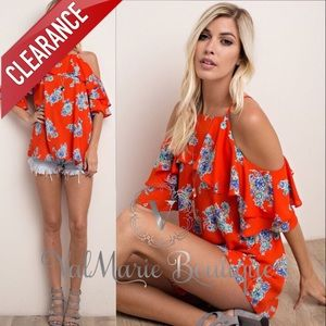 📍CLEARANCE 📍RED ORANGE FLORAL OFF SHOULDER TOP