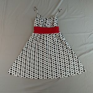 Dresses & Skirts - Black & white polka dot dress with red waistband