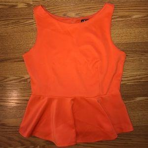 Bisou Bisou Tops - Bright orange peplum