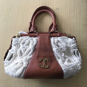 Just Cavalli Handbags - Just Cavalli white crochet bag with Brown leather