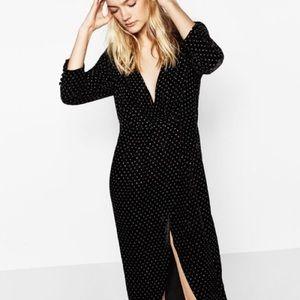 NWT Zara Velvet Crossover Polka Dot Wrap Dress