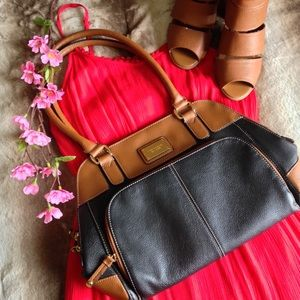 Tignanello Black and Tan Leather Satchel