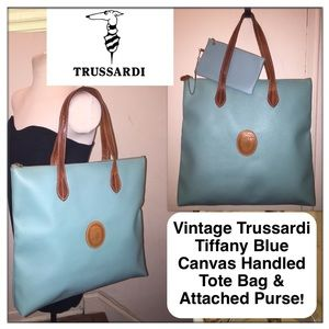 Trussardi Handbags - VTG Trussardi Tiffany Blue Canvas Tote Bag & Pouch