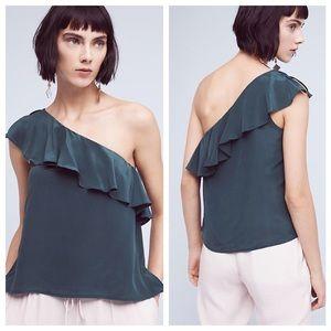HP•Anthropologie• Maeve Silk Ruffle Sleeve Top