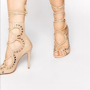 Windsor smith bone nude lace up Heels Sz 6 NEW