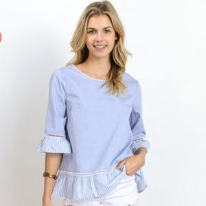 Tops - Sale! Chambray Ruffle Shirt