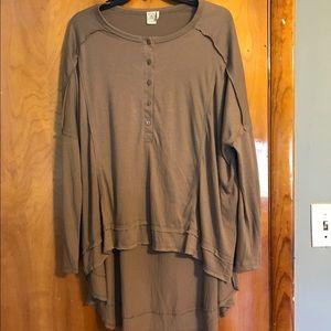 Paper Crane Tops - Paper Crane taupe long sleeve shirt