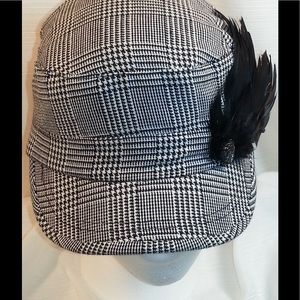 Accessories - Black and White Cap with Feather Broach