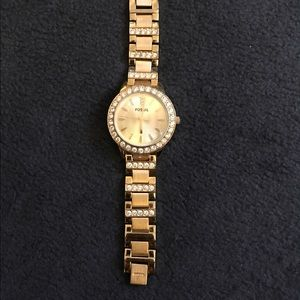 Fossil Accessories - Gold Fossil Watch with Stone Embellishment