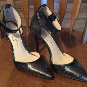 Jessica Simpson pewter ankle strap heels, size 7.5
