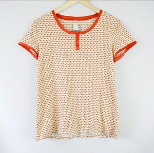 Cabernet Tops - Cabernet Cream Orange Short Sleeved Henley T Shirt