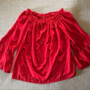 Tops - Red bell sleeve off the shoulder top