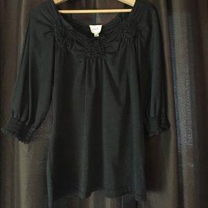 ECI Tops - ECI 3/4 Sleeve Black Flower Blouse - Size Medium