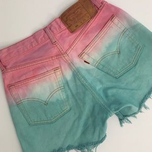 Levi's High Waisted Tie-Dye Shorts