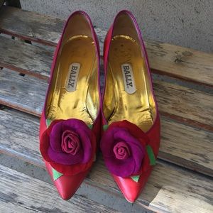 Bally Shoes - Bally red vintage rose heels size 6.5