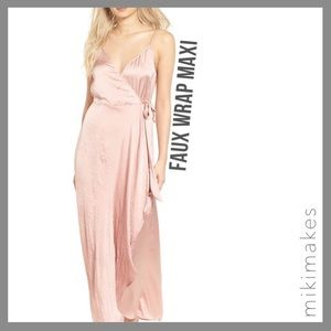 [ band of gypsies ] NWT pink faux wrap maxi dress