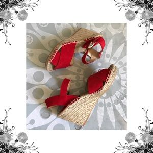 Soludos Shoes - Soludos Red Suede Espadrille Wedges