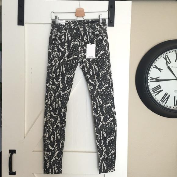 f76adfc3 Zara Jeans | Nwt Black White Coated Snake Print | Poshmark