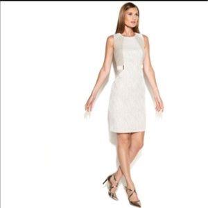 Calvin Klein beige and white textured dress