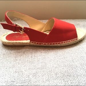 Hush Puppies Shoes - Cherry RED ESPADRILLES Sling Back Gold Buckle 6.5