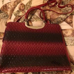 Red snake skin faux tote bag