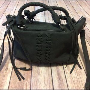 Danielle Nicole Handbags - dark gray faux suede handbag / satchel purse.