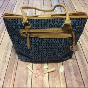 Giani bernini blue and tan bag - purse