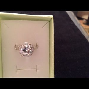 Accessory Collective Jewelry - WGP Halo Diamonique Engagement Ring REDUCED