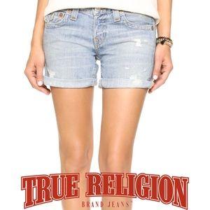 True Religion Pants - True Religion Jayde Distressed Denim Shorts