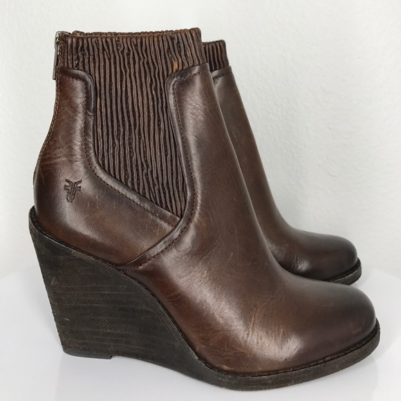 4ddf89d34c61 Frye Shoes - Frye Carrie scrunch ankle wedge boots size 8