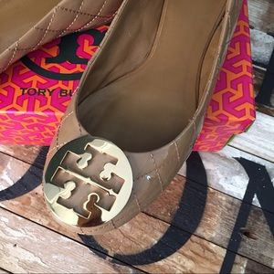 Tory Burch Quilted Patent Leather Flats