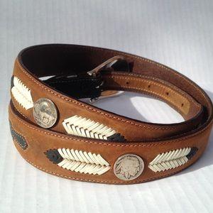 Tony Lama Other - NWOT Tony Lama Buffalo Nickel Brown Leather Belt