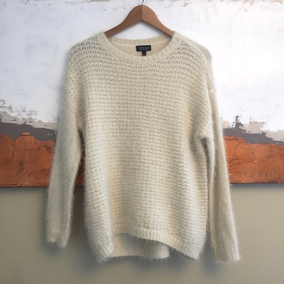 81% off Topshop Sweaters - Topshop eyelash knit fuzzy cream ...