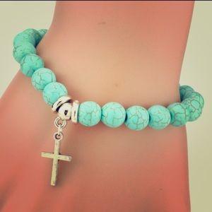 Turquoise & Silver Cross Bracelet