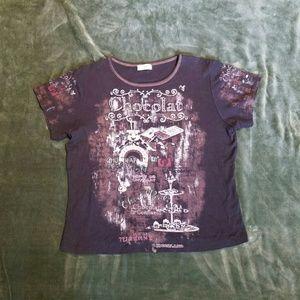 Cactus Tops - Cactus Black Cap Sleeve T-shirt XL Chocolate