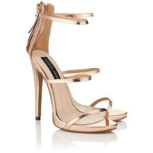 fashion union Shoes - Rose gold 3-strap stilettos
