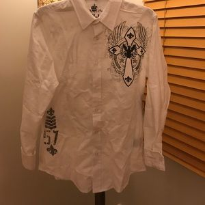 helix Other - HELIX BUTTON UP SHIRT SMALL CROSS/FLEUR DE LIS NWT